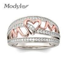 ¡Novedad de 2019! anillos Modyle de corazón de Color oro rosa de amor para mujer, anillo brillante de diamantes de imitación de circón, joyería para el día de la madre, regalo de cumpleaños