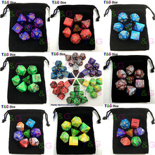 7pcs Promotion 2-color Dice Set with Nebula effect poker d&d d4,d6,d8,d10,d%,d12,d20 Polyhedral Dice, rpg game dice with bag(China)