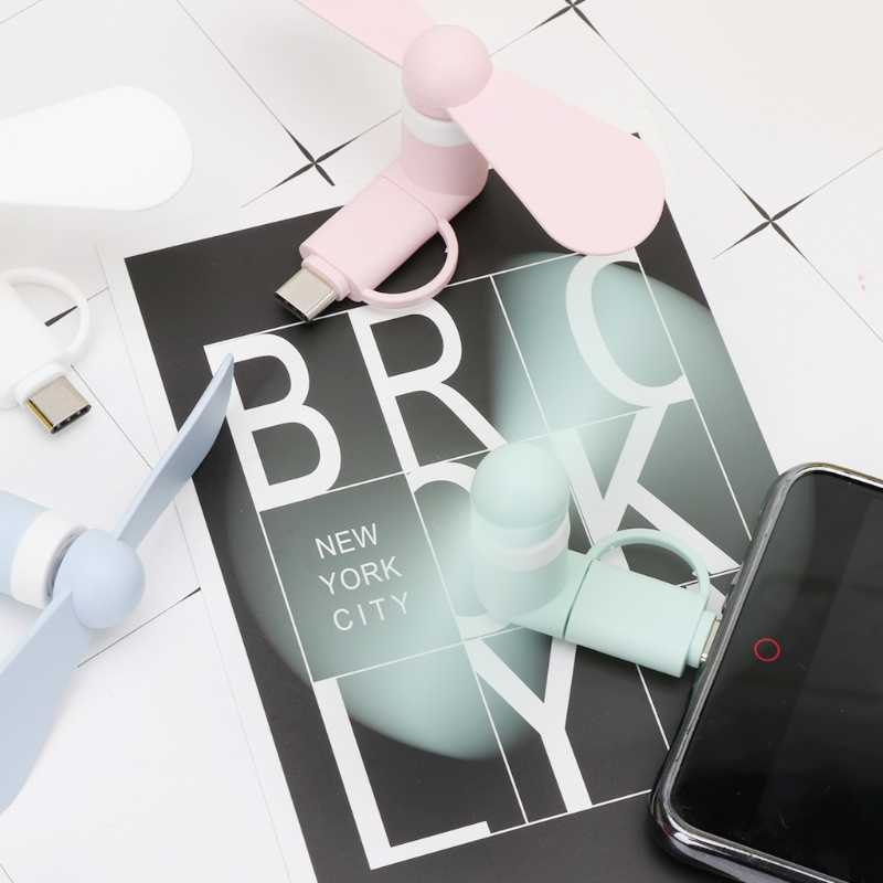 2in1 Usb Mikro Tipe C USB Mini Fan Cooler untuk Samsung Xiaomi Huawei HTC Ponsel