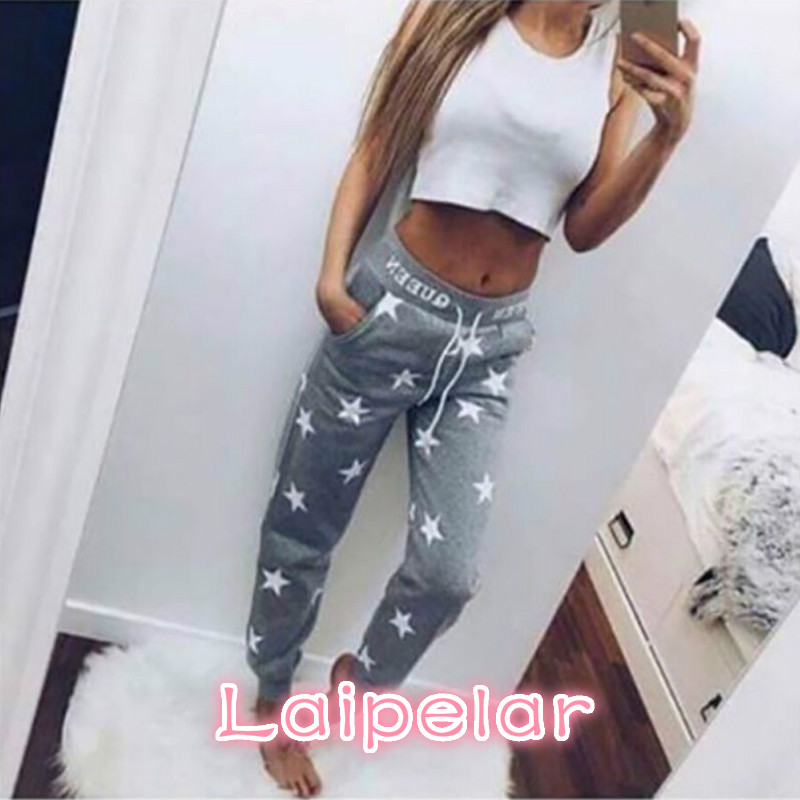 Solid   Pants     Capris   Tracksuit Pink/Gray Loose   Pants   Women Printed Star Casual Long Trousers Fashion Sweatpants 2018 Laipelar