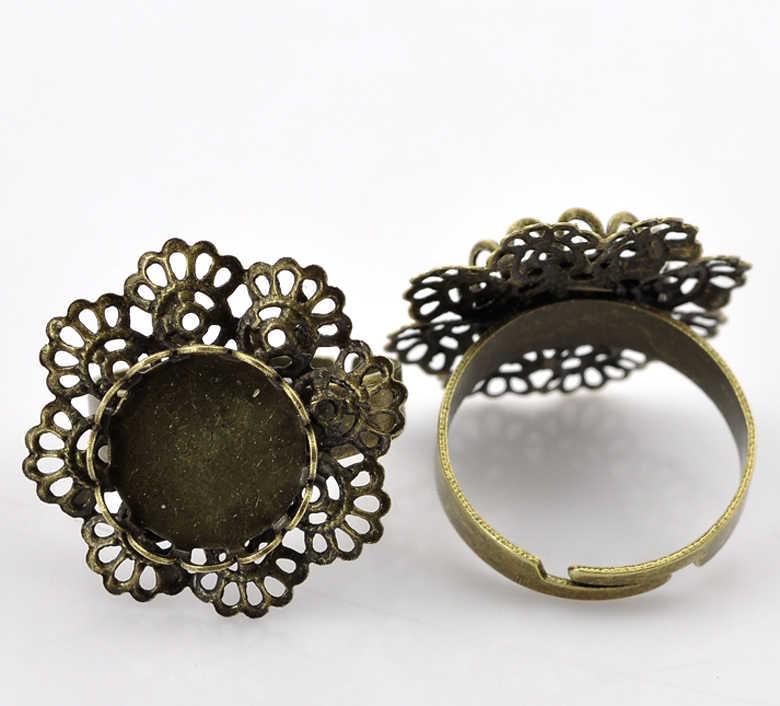 """DoreenBeads נחושת + סגסוגת מתכוונן טבעות פרח עתיק ברונזה קרושון הגדרות (מתאים 12mm) 17.5mm (6/8 """") (ארה""""ב) 1 חתיכה"""
