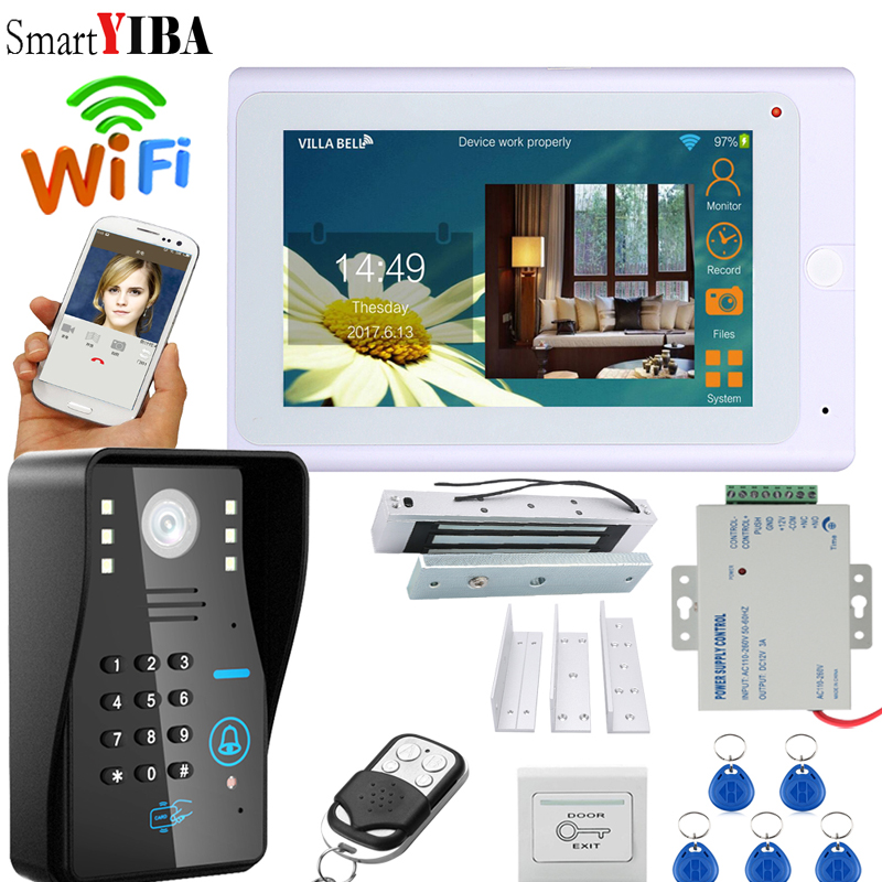 SmartYIBA 7Inch White Monitor RFID Password Wifi Wireless Video Door Phone Doorbell Camera Entry Intercom System With Door Lock smartyiba 7inch 7inch wired wireless wifi rfid password video door phone doorbell intercom with ir cut 1000tvl camera