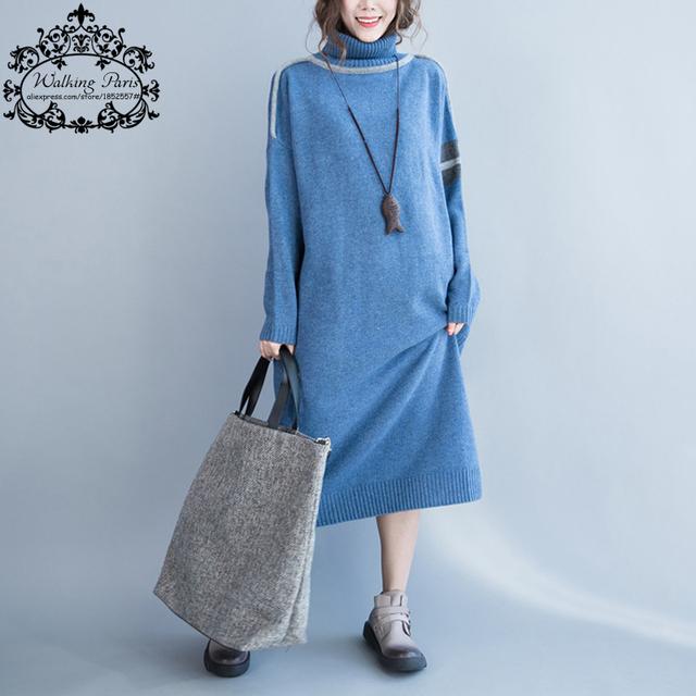Plus size vestidos de algodão mulher dress sólidos blusas de algodão casual feminina gola de tricô moda inverno quente azul dress