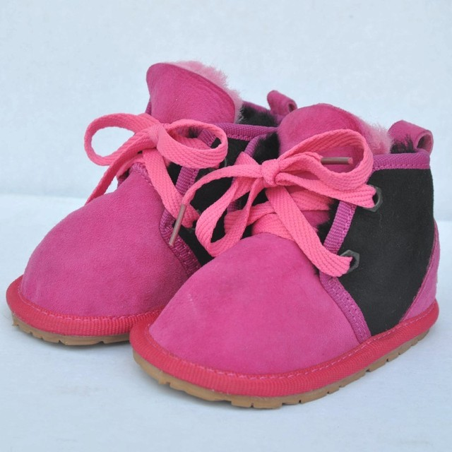 2016 Winter Wholesale New Genuine Leather Fur One Toddler Children Solid Color Keep Warm Lace Up Low Top Snow Boots 2pairs/lot