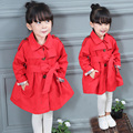 Children's clothing girls child spring and autumn outerwear single breasted fashion female child princess trench red child coat