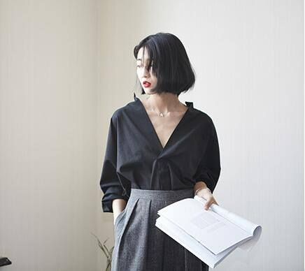 korean loose long blouse loose v-neck tops long sleeve casual blouse white blouse women blouse long sleeve casual loose solid