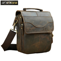 Original Leather Male Fashion Casual Tote Messenger bag Design Satchel Crossbody One Shoulder bag 8 Tablet Case For Men 144d