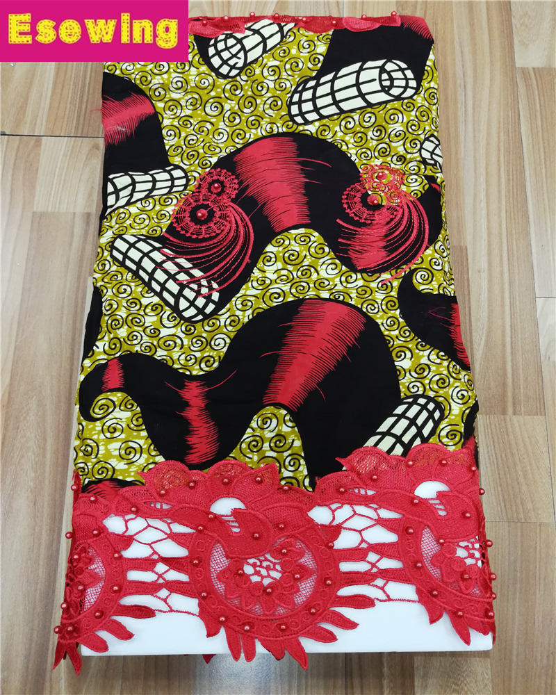 Esewing African Wax Lace Fabric High Quality Wax Guipure Lace With Stones Latest Ankara Wax Mix With Lace Embroidery For WomenEsewing African Wax Lace Fabric High Quality Wax Guipure Lace With Stones Latest Ankara Wax Mix With Lace Embroidery For Women