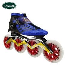 PASENDI Adultos Profesionales Patinaje de Velocidad En Línea Botas Niños Zapatos patines En línea de Slalom Patins Patines De Fibra De Carbono Azul