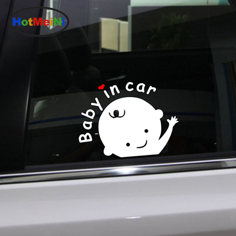 HotMeiNi Baby In Car Car Sticker Waving Baby on Board Safety Sign Funny Vinyl Decal for Truck Car Window Laptop Hangover rocker switch 3 pin on off red black 6a ac 250v 10a ac 125v