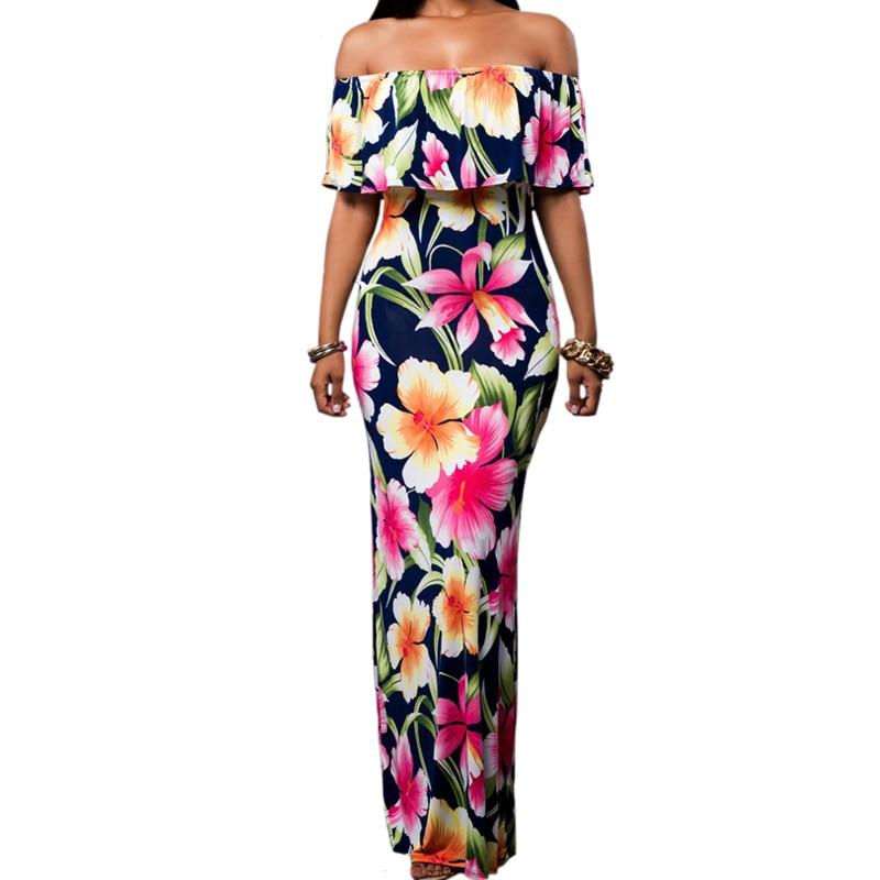 3376ebfd48 Kobiety długie letnie sukienki w stylu Vintage z dekoltem w łódkę kwiatowy  afryki drukuj sukienki Maxi sukienka body na ramiączkach szata De Plage Ete  2018 ...