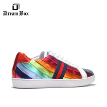 Mens Wild Shoes Summer Korean Fashion Leather Breathable Rainbow Color Matching Casual Trend