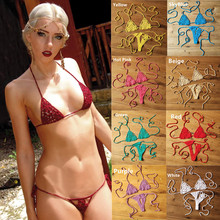 13 Color Handmade Crochet Micro Bikini G Thong String Beach Swimwear Sexy Lingerie Sets Sunbathing