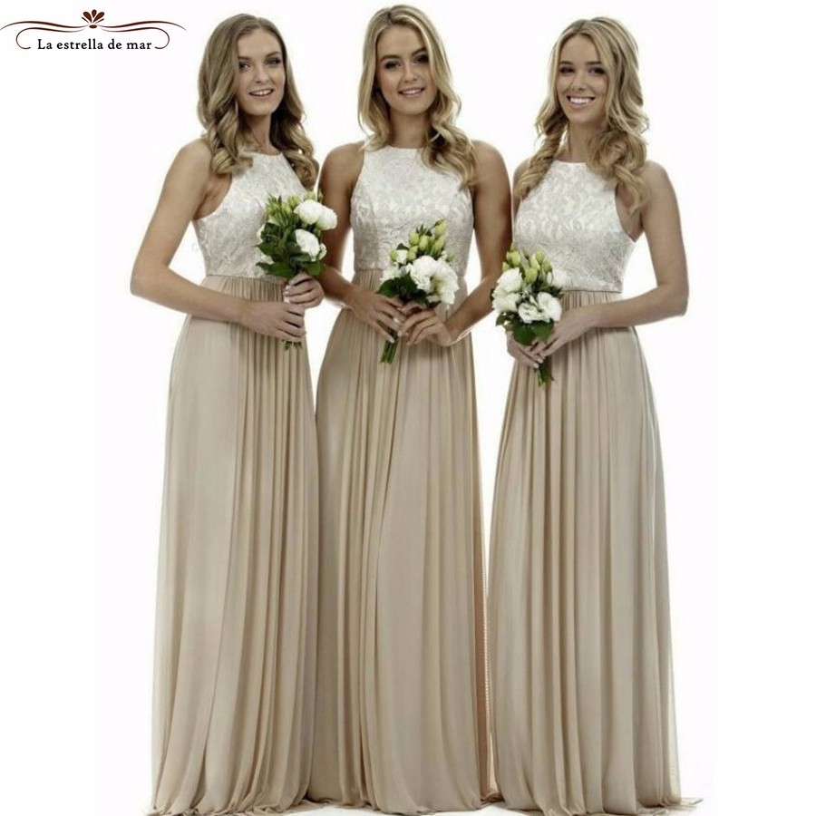 Online get cheap bohemian lace bridesmaide dress aliexpress vestido madrinha longo 2017 new lace and chiffon a line champagne bridesmaid dresses pretty bohemian wedding ombrellifo Choice Image
