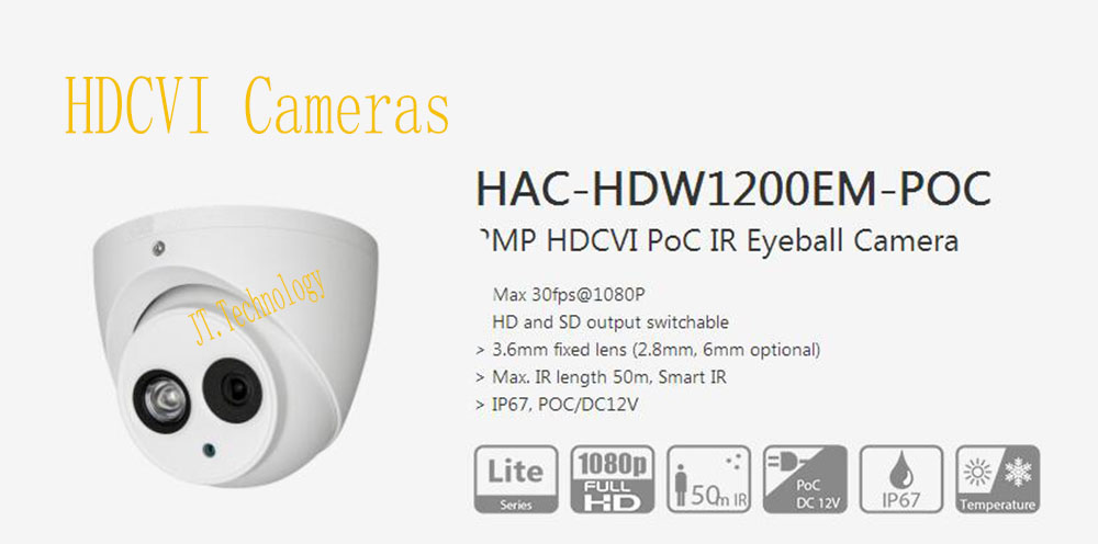 Free Shipping Original English HAC-HDW1200EM-POC 2MP 1080P HDCVI PoC IR Eyeball Camera IP67 Without Logo CCTV Security Camera free shipping original english dahua security camera cctv 2mp hdcvi ir dome digital video camera without logo hac hdbw1200r vf