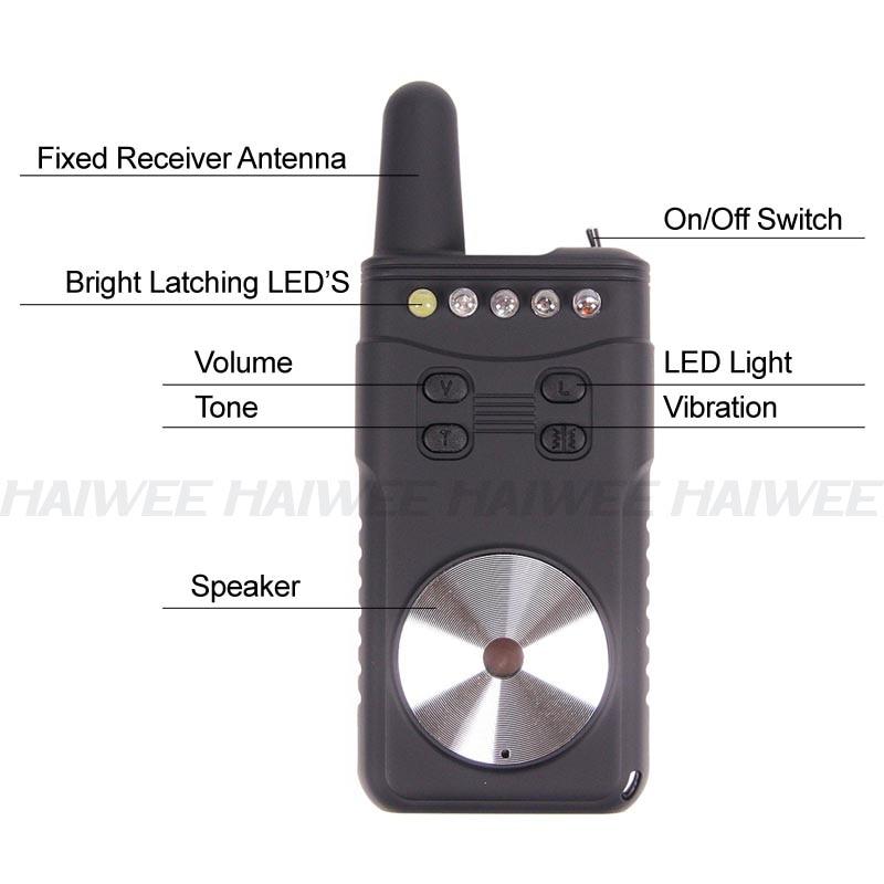 Bonne qualité 4 + 1 coloré lumière LED réception sans fil carpe pêche morsure alarme - 3