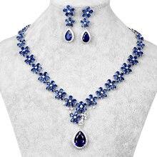 Top Kwaliteit Aaa Teardrop En Bloem Zirconia Cz Bruiloft Bruids Ketting En Oorbel Sieraden Set In Rood Of Blauw kleuren