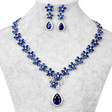Top Quality AAA Teardrop and Flower Cubic Zirconia CZ Wedding Bridal Necklace and Earring Jewelry Set in Red or Blue Colors