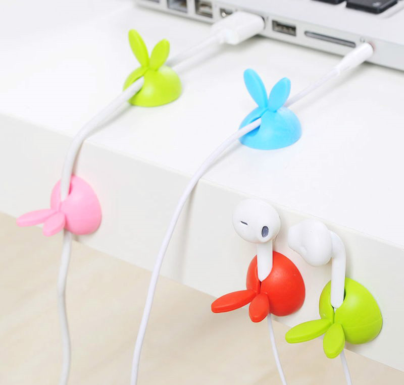 4pcs Cute Rabbit Ears Cable Winder Collation Holder Bunny Charger Wire Cord Organizer Clip Tidy Desk Earphone Fixer Bobbin Clamp Accessories & Parts Cable Winder