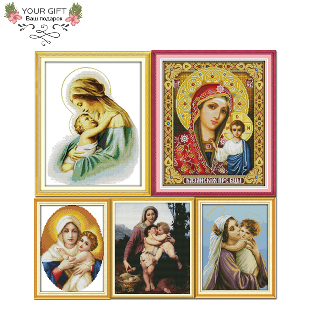 Joy Sunday R266(2)(3)(4)(5)(6) 14CT 11CT Counted and Stamped Home Decor Holy Mother and Holy Son Cross Stitch kits image