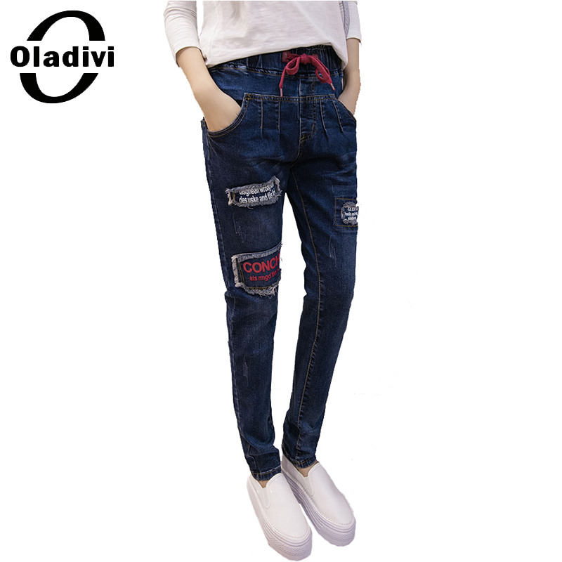 ФОТО Oladivi Plus Size Women Clothing 2017 New Spring Fashion Ladies Jeans Ripped Harem Pant Vintage Female Denim Trousers 5XL XXXXXL