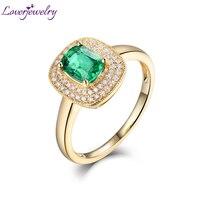 LOVERJEWELRY женские изумрудные кольца для вечерние ювелирные изделия для помолвки подлинное 18 К желтое золото натуральный алмаз изумруд женско