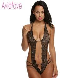 Avidlove Lencería Erótica de Mujer Set Sexy Ropa Interior Atractiva de Encaje Cuello en V Profundo Una Sola Pieza Sin Respaldo para Día de San Valentín