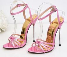 super high heel 13CM Sandals hollow Strap High Heel Dress sandal 5 Inches Sexy Night Club Dancer woman large size 45