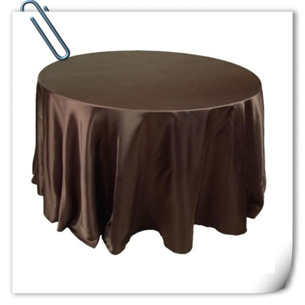Hot Sale !!! Brown 90inch 10pcs Satin table cloth for weddings parties hotels restaurant Free Shipping