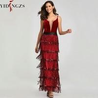 YIDINGZS 2019 New Sequins Tassel Sexy Long Evening Dress Elegant V neck Evening Party Dress YD198