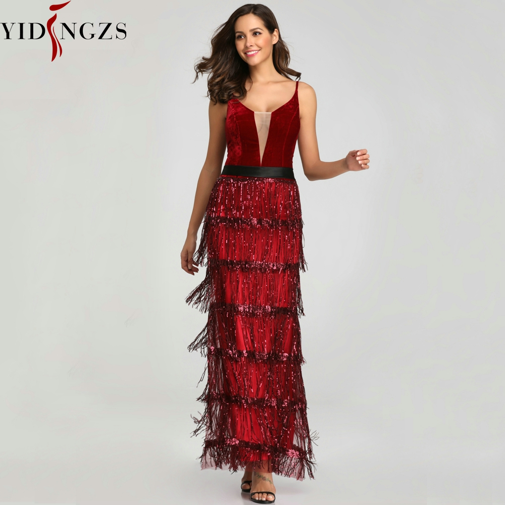 YIDINGZS 2019 New Sequins Tassel Sexy Long   Evening     Dress   Elegant V-neck   Evening   Party   Dress