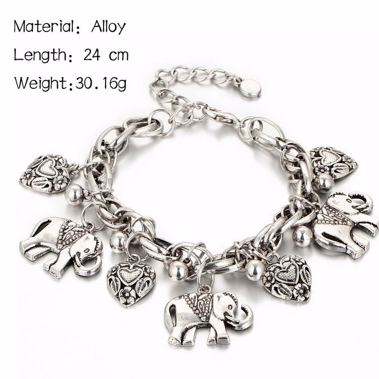 IF YOU Vintage Silver Color Elephant Charm Bracelet For Men Bohemian Statement Bracelets Bangles pulseira Feminina Jewelry Gift 4