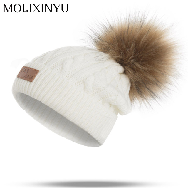 MOLIXINYU 2017 Pom Children Winter Hat For Girls Hat Knitted Beanies Cap Brand New Thick Baby Cap Baby Girl Winter Warm Hat