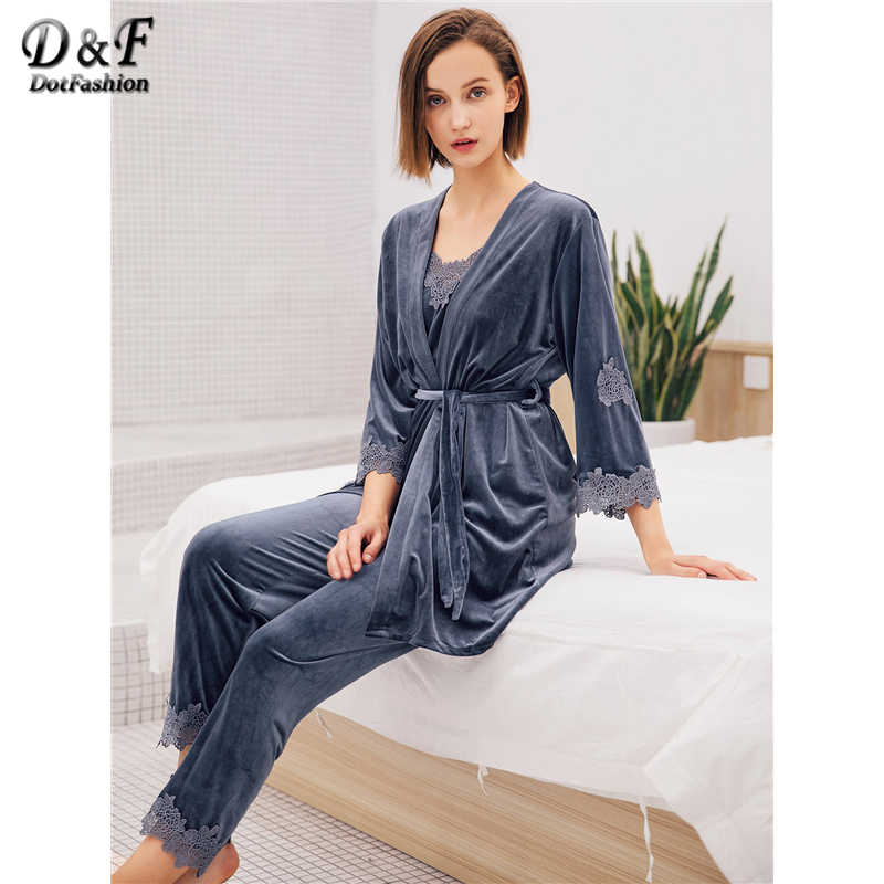 aac97604ba Dotfashion Blue Belted Lace Floral Crochet Velvet Cami Pajama Set With Robe  Women Casual Nightwear Autumn