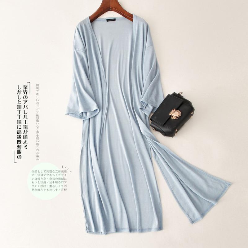 Women Long Thin Cardigan Summer Autumn Casual Loose Silk Knitted Cardigans Female Soft Sweater Coat Beach Shirt Plus Size AB1480