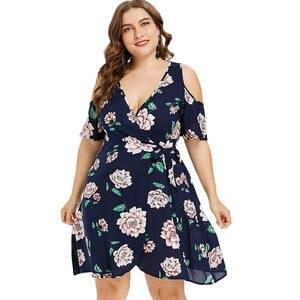 03e109e6f46 Wipalo Plus Size Wrap Dress Summer elegant Vestidos