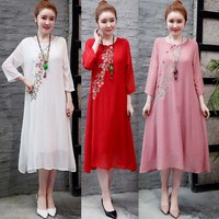 Free shipping 2019 new Ethnic style embroidery women dress cotton & hemp ladies dress seven sleeve long Dress fake two