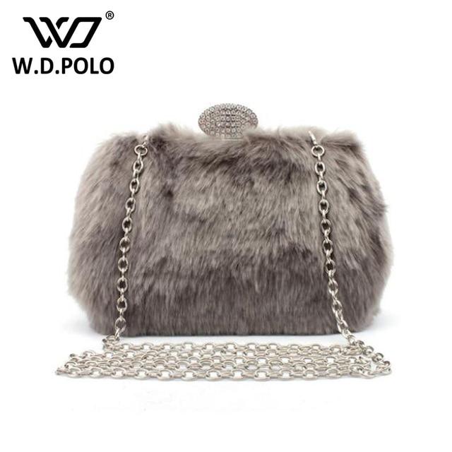 140a4cb1a0f3 WDPOLO fur brand design women evening bag mini party purse hot winter  stylish girls sling bag banquet handbag women bags C149