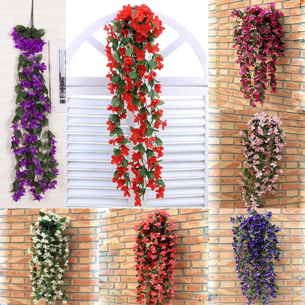 New Artificial Flowers Violet Hanging Vine Flowers Garland Flowers for Decoration Home Decoration Accessories Wedding Decoration