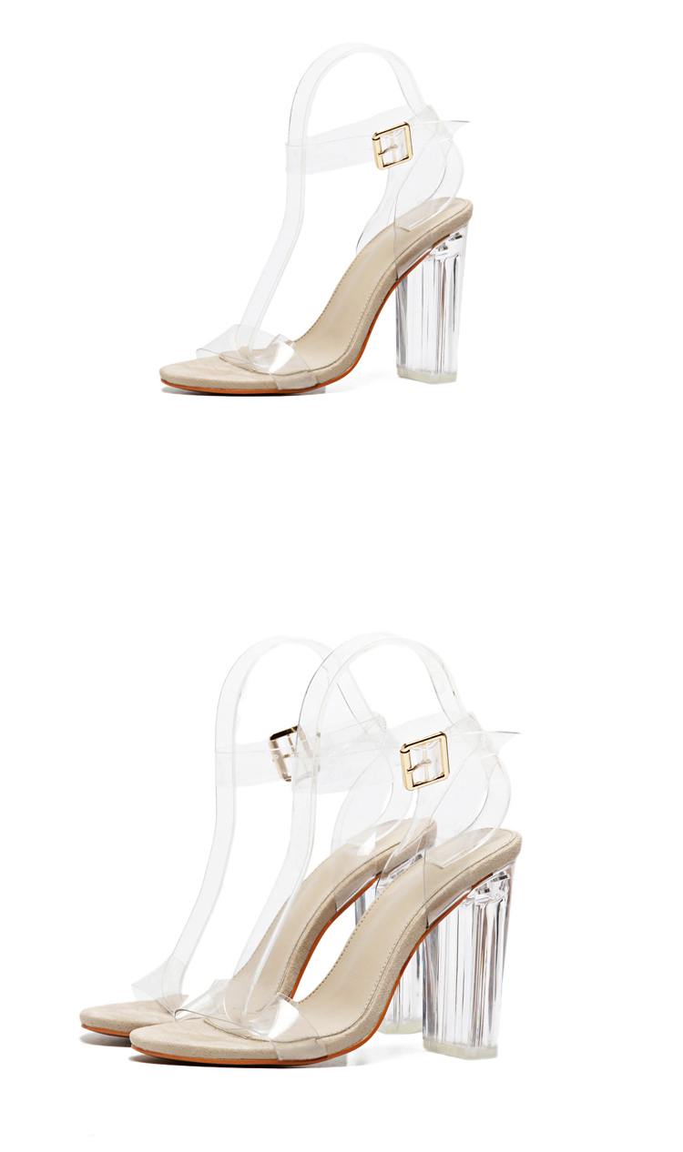 Eilyken 2019 New PVC Women Sandals Sexy Clear Transparent Ankle Strap High Heels Party Sandals Women Shoes Size 35-42