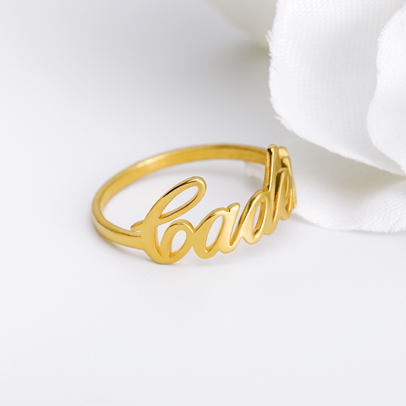 ALI shop ...  ... 32806395853 ... 3 ... Gold Silver Stackable Custom Personalized Name Ring For Women Best Friends Bijoux Femme Wedding Band Stainless Steel Name Ring ...