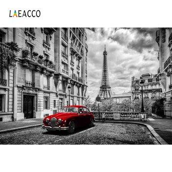 Laeacco Landmark Photophone Retro Portrait Photography Backgrounds Car Paris Street Building Eiffel Tower Photo Backdrops Props laeacco eiffel tower paris grassland scenery portrait photography backgrounds customized photographic backdrops for photo studio