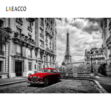 Laeacco Retro Red Car Paris Street Tower Scenic Photography Backgrounds Customized Photographic Backdrops For Photo Studio