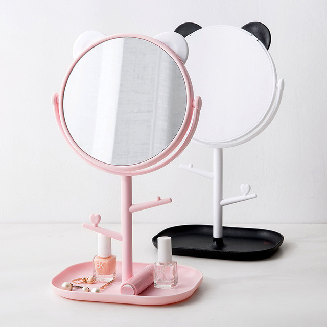 Plastic Makeup Organizer with mirror tree Jewelry Box Creative Cosmetic Organizer Ring Lipstick Rack Necklace Display Organizer