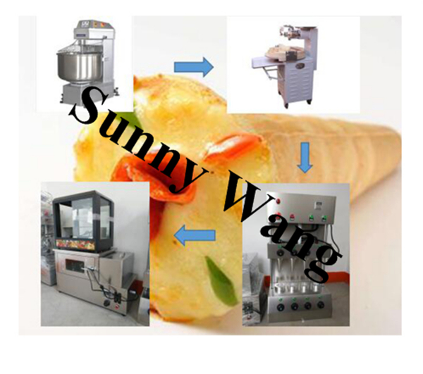 golden supplier stainless steel Fully automatic pizza cone making machines production line for sale electric pizza oven