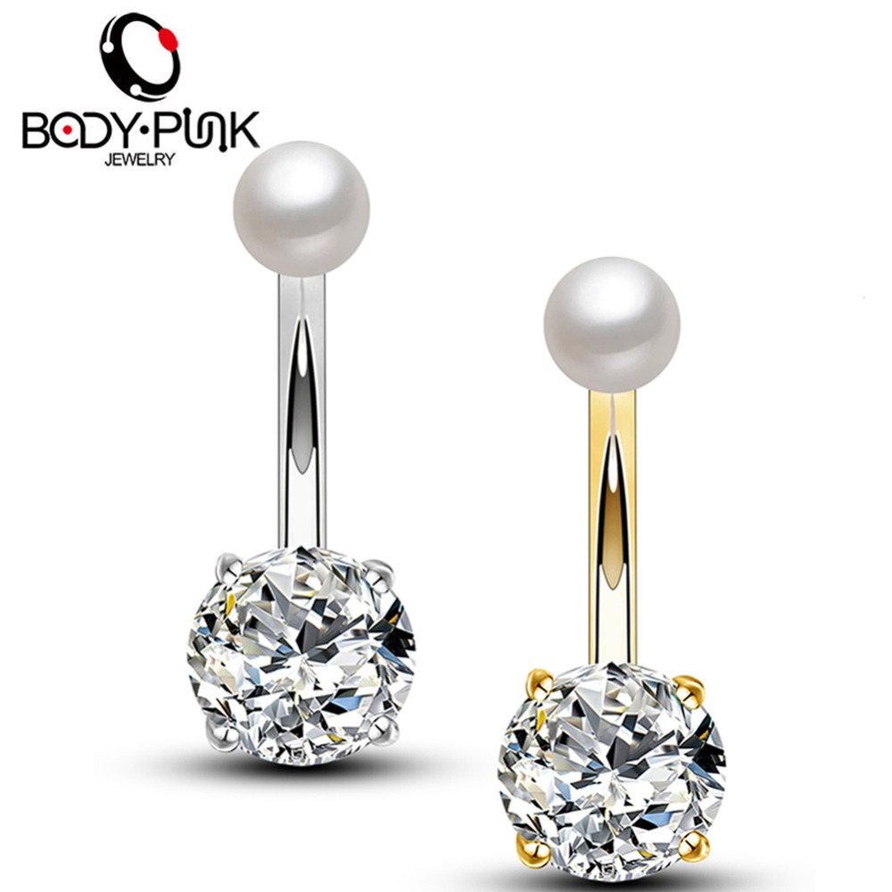 Us 2 19 21 Off Body Punk 14g Belly Button Rings Stainless Steel Pearl With Clear Cz Navel Rings Piercing Body Jewelry Needle Ombligo For Women On