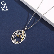 SA SILVERAGE 925 Sterling Silver Tree of Life Pendant Necklaces for Women Gold Color Silver Long Maxi Chain Necklace Chokers sa silverage 925 sterling long necklaces 2018 limited ketting pendants sweater chain fine jewelry earth maxi pendant necklace