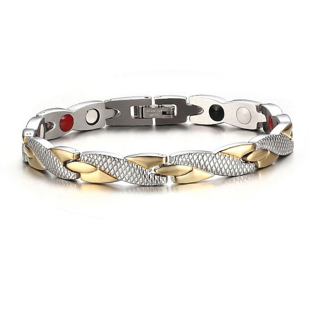 Bracelet magnétique sain torsadé pour les femmes aimants de thérapie de puissance Bracelets de magnétite Bracelets hommes bijoux de soins de santé en acier inoxydable