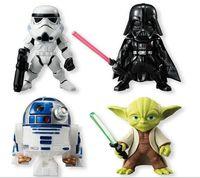 Star Wars 4PCS SETS Master Yoda Black Knight Darth Vader White Warrior Storm Trooper 8CM PVC