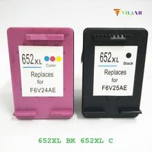 2 Pcs for HP 652xl Ink Cartridge for HP 652 xl Deskjet 1115 1118 2135 2138 3635 3636 3638 Printer